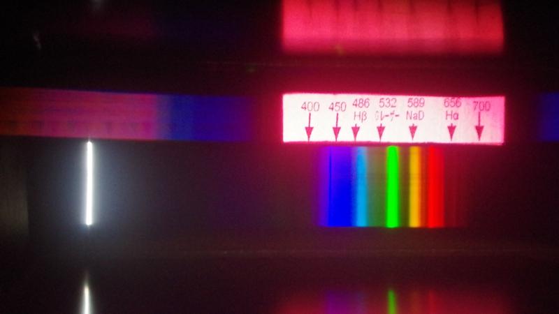子ノ星教育社特製 直視分光器を使っている様子直視分光器工作キット