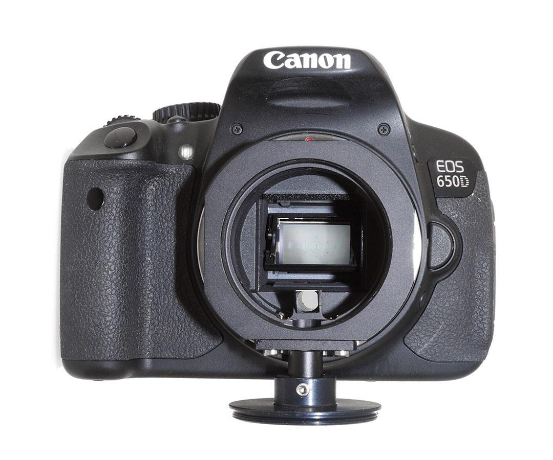 キャノンEFマウント専用 Tマウント互換オフアキシスガイダーをcanonカメラに取り付けた様子