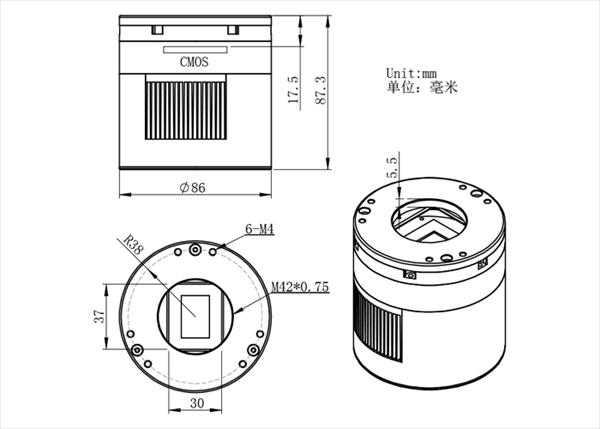 APS-Cサイズ冷却カラーCMOSカメラ ASI071MCProのサイズ・寸法