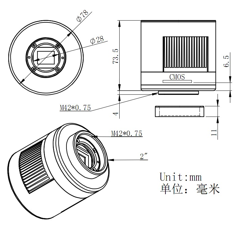 ASI1600MMPro マイクロフォーサーズサイズ モノクロ冷却カメラ DDR3メモリー256Mb搭載の寸法図