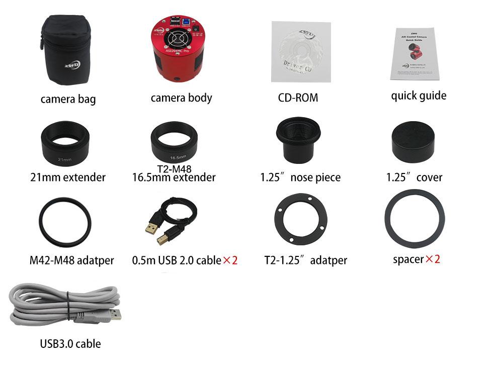 ASI294MCPro マイクロフォーサーズサイズ カラー冷却カメラの同梱品