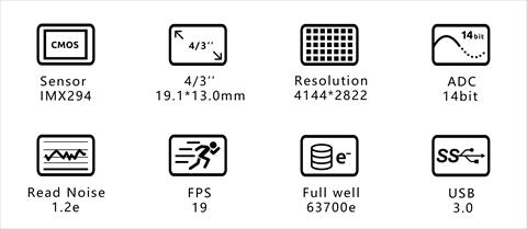 ASI294MCPro マイクロフォーサーズサイズ カラー冷却カメラの特徴