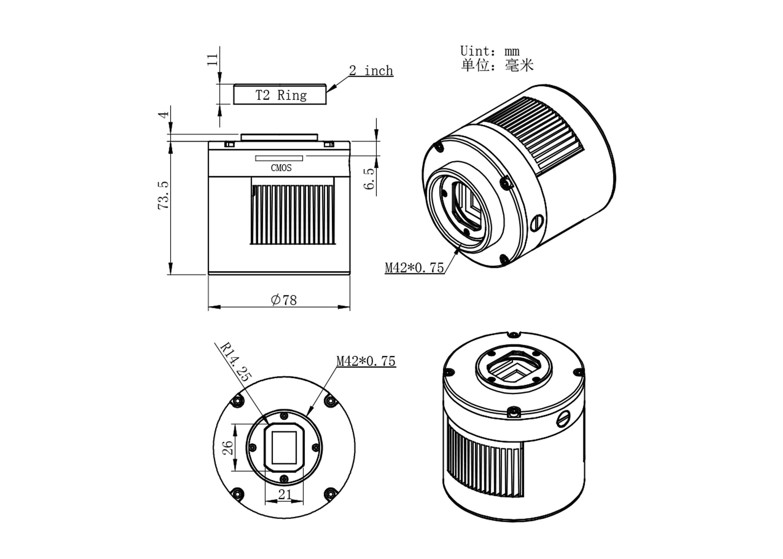 ASI294MCPro マイクロフォーサーズサイズ カラー冷却カメラの寸法図