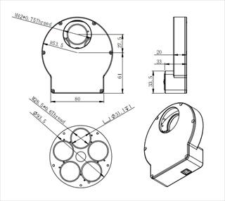 ZWO Mini電動式フィルターホイール 薄型USB, 5×1.25インチ,5×31mm用 の寸法図