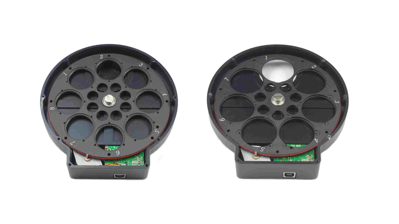 ZWO 電動式フィルターホイール 薄型USB, (8 x 1.25インチ or 7 x 36mm)用 内部のフィルターホイール